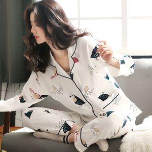 Pyjama Women Clothes Summer Womens Pajamas Sets Long-sleeved Sleepwear Suits Girl Fashion Casual Outerwear Sleepwear Night Suit 201113
