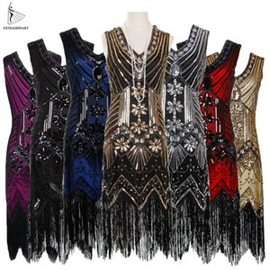 Women 1920 S Vintage Great Gatsby Dress Sequins Dress V-neck Tassels Bodycon Beaded Party Dress Flapper Dresses Art Deco Double 201022