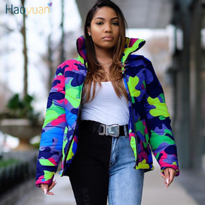 HAOYUAN S-4XL Plus Size Camouflage Winter Coat Women New Clothing Down Warm Thick Bubble Parka Outerwear Oversized Puffer Jacket 200930