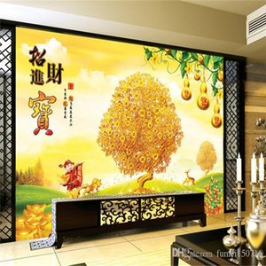 Fortune House Lucky Fortune House Fresco background wall home furnishings living room sofa TV wall wallpaper murals