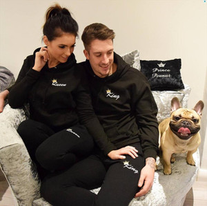 OMSJ New Fashionable Couple Black Matching Outfits Sweatsuit Fall Clothes,Lover Christmas Gift Long Sleeve Track Sets Hoodies