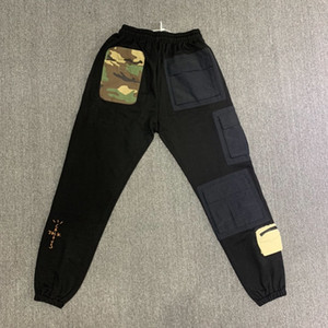 Brand New Travis Scott Cactus Jack Pantaloni felpa Uomini Donne Tactical Multi-pantaloni delle tasche Hiphop Uomini Camouflage Patch Sweatpants 201109