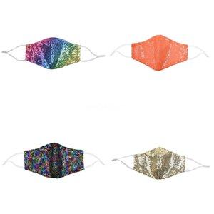 Лицо Мода BlingBling пришивания Paillette DesignerMask WashableAdult Маски Mascarillas Защитная маска Регулируемое # 956