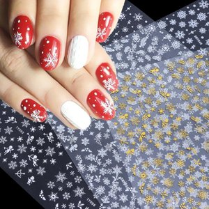 12pcs Gold Argent Noël Stickers de Noël pour ongles Hiver Snow Flocake Collures Adhésifs Nouvel An Nail Art Décoration Slider Laty / Smy-1