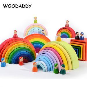 WOODADDY arcobaleno blocchi di serie 12Pcs grosse arcobaleno Top Montessori educativi giocattoli in legno per bambini Pegdolls Forma Kit Box Cover LJ200928