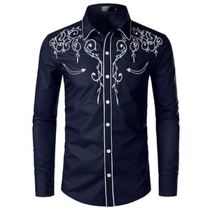 Stylish Western Cowboy Shirt Men Brand Design Embroidery Slim Fit Casual Long Sleeve Shirts Mens Wedding Party Shirt for Male 41