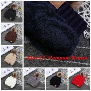 Luxury Stockury, Дети CC Модные Детские Шапки вязаные в Poms Cable Cable Caps Hats Hats Slouchy Winter Fur Fashion Beanie Big Kids Skull FY7311 DXFJK