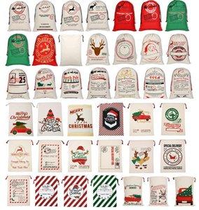 New Bgs Natal grande lona Monogrammable Papai Noel com cordão saco com renas Monogramable Natal Presentes Sack Bags DHA1882