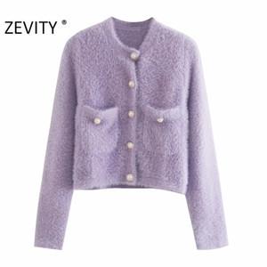 Zevity Mujeres Moda Candy Colors Bolsillos Patch Cardigan Tejido Suéter Femenino Chic Manga larga Pearl Breasted Slim Tops S460