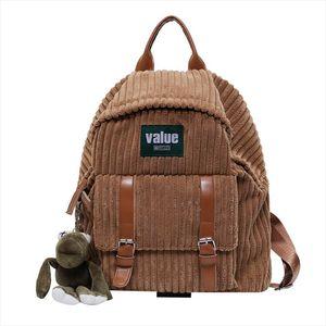 Женщины Вельвет Рюкзак Полосатый Мягкая ткань сумки Кожаный ремешок школы для Учиться в России College Girls Cute Small Travel Bagpack