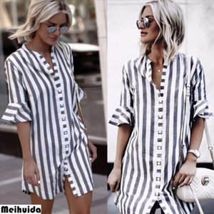 womens clothing Fashion Casual Striped Plus Size Women Loose Long Sleeve Irregular Top Ladies Button Shirt