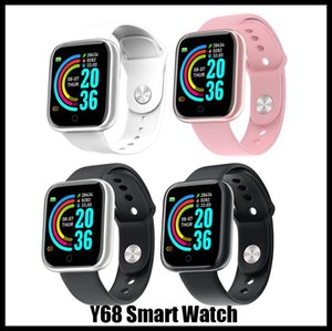 Y68 Smart Watch Sport Metal Round Case Heart Rate Sleep Monitor IP68 Battery iOS Android DHL FREE