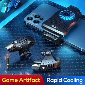 Mobile Game Controller Triggers Phone Radiator 2IN1 Smartphone Universal Cooler Fan Shooter L1R1 Gamepad Joystick
