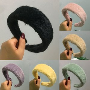Moda Faux Fur cabeça banda Mulheres Winter Furry Plush Hairbands para meninas moldura Acessórios de cabelo Headbands cabelo Hoop Headwear