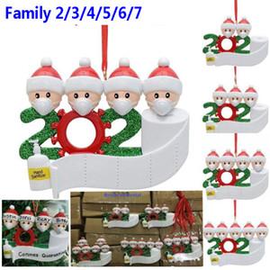 2020 Quarantine enfeites Customiz presente sobrevivente Família Pendure Decoração do boneco de neve Pendant Com Máscara Facial Hand Sanitizer XmasHH9-3274