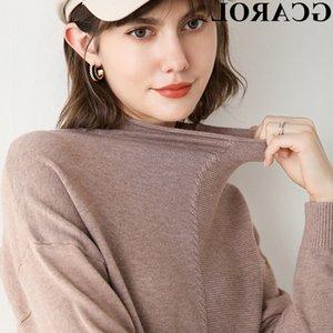 GCAROL Женщины Половина высокий воротник свитера Дизайн персонажей падения плеча 30% шерсть Knit Перемычка осень-зима Сладкие Chic пуловер 2XL