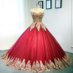 Gorgeous Dubai Red Ball Gown Wedding Dresses Appliqued Gold Lace Sweetheart Strapless Long Bridal Gowns Back Lace-up Plus Size Wedding Dress