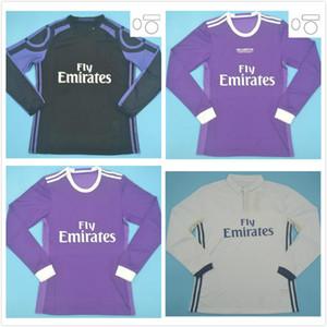 طويلة الأكمام 2016 2017 الرجعية ريال مدريد لكرة القدم جيرسي بيe رونالدو كروس بنزيما الكامل لكرة القدم قميص 16 17 جيمس خمر camiseta دي fútbol