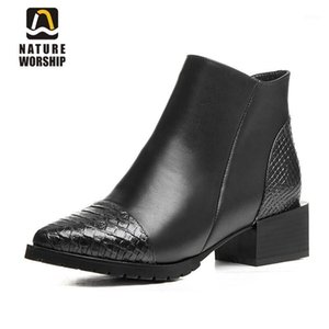 Natura Worship New Fashion Geuine Leather Square Tacco Donne Shoes Shoes Zipper Pointed Toe Stivaletto Stivaletto Stivaletti Caldo Peluche Scarpe Big Size1