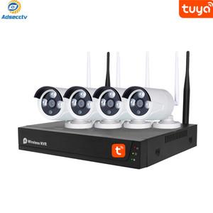 Tuya vida inteligente de 4 canales Wi-Fi NVR Kits real Plug and Play al aire libre los conjuntos de cámara inalámbrica de grupos de sistemas de seguridad CCTV Inicio Survillance tuya App