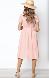Women autumn brief pure color V-neck cotton dress slender long