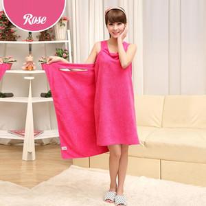 6 color Lady Girls Magic Bath Towels SPA Shower Towel Body Wrap Bath Robe Bathrobe Beach Dress Wearable Magic Towel FWF2797