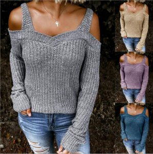 Women Casual Sweaters 2020 Autumn New Sexy Sling Strapless Sweater Solid Color Casual Long-sleeved Sweater Womens Hot Sale Pullover Clothing
