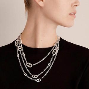 Heißes Geld Schwein Nase Pullover Kette Neutrale Halskette Persönlichkeit Mode Kupfer Material Oberfläche Plattiert von reinem Silber Frühling und Herbst Winte