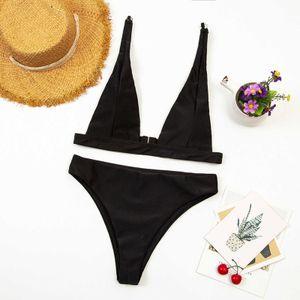 2021 Neue Frau Badebekleidung Dessous Set Mode Frauen Sexy Solide Farbe Open Back Slim Bikini Badeanzug
