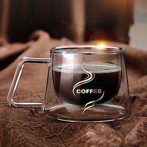 Résistant à la chaleur à double paroi tasses à café et tasses Thermiquement Tumbler Espresso tasse de thé avec les tasses à café poignée Verres à boire X1027