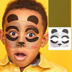 Neue Körperkunst Wasserdichte Tattooaufkleber Tier Design Halloween Festival Fake Tattoo Flash Tattoo Aufkleber Gesicht Make-up für Kinder
