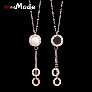 Pendant Necklaces ELSEMODE Women's Fashion Roman Numeral Shell Stainless Steel Jewelry Colar European Simple Rose Gold Choker Necklace