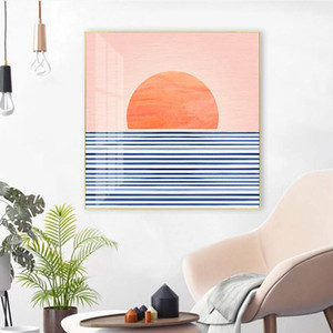 Abstract Sunrise Landscape Sea Scene Canvas Print Painting Poster Wall Art Pictures for Living Room Bedroom Home Decor No Frame