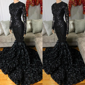 Black Mermaid Prom Dresses Long Sleeves 2021 Newest Sequins Appliqued Handmade Flowers Custom Made Plus Size Jewel Formal Evening Party Gown