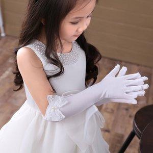 Guanti da sposa ragazza della principessa fiore lunghe del partito di sera guanto di bambini di compleanno del merletto della perla di Bowknot prestazioni Guanti per il bambino