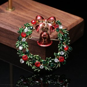 Christmas Brooches Skiing Santa Claus Snowman Pin Badge Bells Wreaths Christmas Tree Brooch Pins Jewelry Gift Cloth Party Decoration