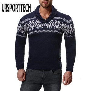 Casual URSPORTTECH Turtelneck Natal Sweater Homens Pullover Jumper Outono Impresso malha Camisolas Streetwear manga comprida Pull