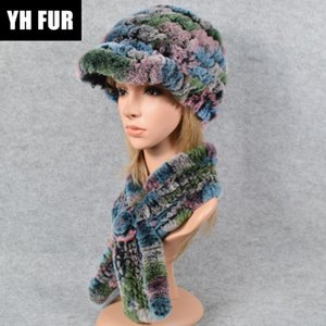 2 Pieces Sets Knit Real Rex Fur Hat Scarf Women Winter Rex Fur Cap Scarves Natural Poncho And Hats