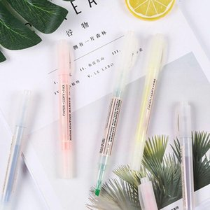 6 Color Dual Double Headed Highlighter Pen Fluorescent Marker Drawing Stationery R9JA