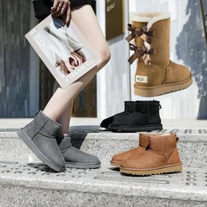 New Booties Frauen-Winter-Schnee-Aufladungen Art und Weise Martin Classic Short Bogen Stiefel Sprunggelenk Knie Bogen Mädchen MINI Bailey Stiefel Größe 35-41