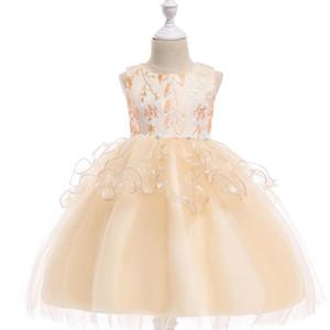2019 Girls Dress Children Kids Girl Sleeveless Dance Party Princess champagne Rattan flower A ruffled tulle dress