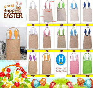 Wholesale 14 styles Cotton Linen Easter Bunny Ears Basket Bag For Easter Gift Packing Easter Handbag For Child Fine Festival candy Gift DA2