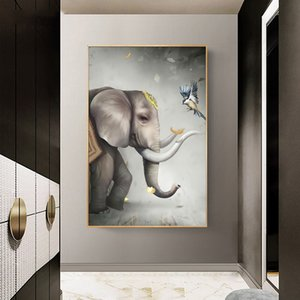 Nordic Elephant and Bird Animal Art Canvas Painting Posters and Print Wall Art for Living Room Home Decor (No Frame)
