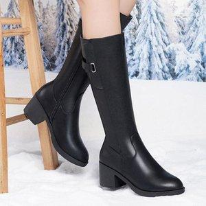 Cresfimix Botas Femininas Femmes Cool Haute Qualité Square Heel Automne Hiver Bottes Lady Classic Black PU Chaussures en cuir B64401