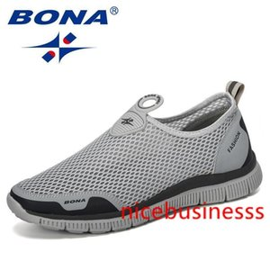 BONA 2019 Men Breathable Casual Shoes Krasovki Mocassin Basket Homme Comfortable Sneakers Shoes Chaussures Pour Hommes Mesh