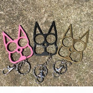 Personalized classic cat shape keychain, self-defense tool key chain, cat head two-finger tiger metal gift,3 color