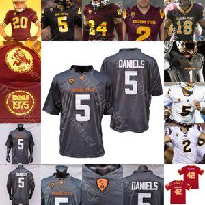 Özel Arizona State ASU Futbol Jersey NCAA Kolej Terrell Suggs Pat Tillman Jayden Daniels Benjamin Brandon Aiyuk Kearse-Thomas Harry