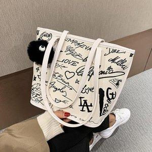 Ombro NOVO francês Design de Moda Graffiti Bucket Bag Underarm saco original Canvas 23 centímetros Bolsa Largura 30cm de altura