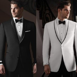 Slim Fit One Button Black White Groom Tuxedos Groomsmen Suit Customized Cheap Men's Wedding Prom Suits (Jacket+Pants+Tie)