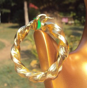 18k Yellow Gold Large Curved Wide Hoop Earrings Hip-hop Heavy Big Gift 100% Real Gold, Not jllKLx bdesybag